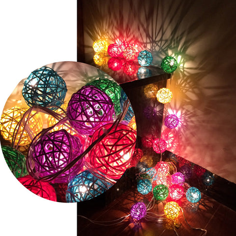 Colorful Rattan Balls LED String Lights Lamp - 1000Miles
