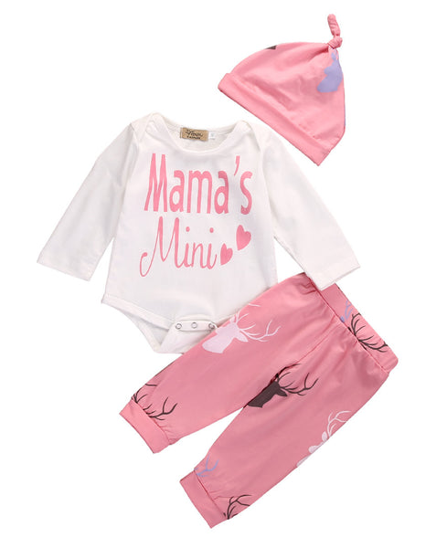 0-18M Newborn Baby MAMA's Mini Long Sleeve Deer Clothing Set