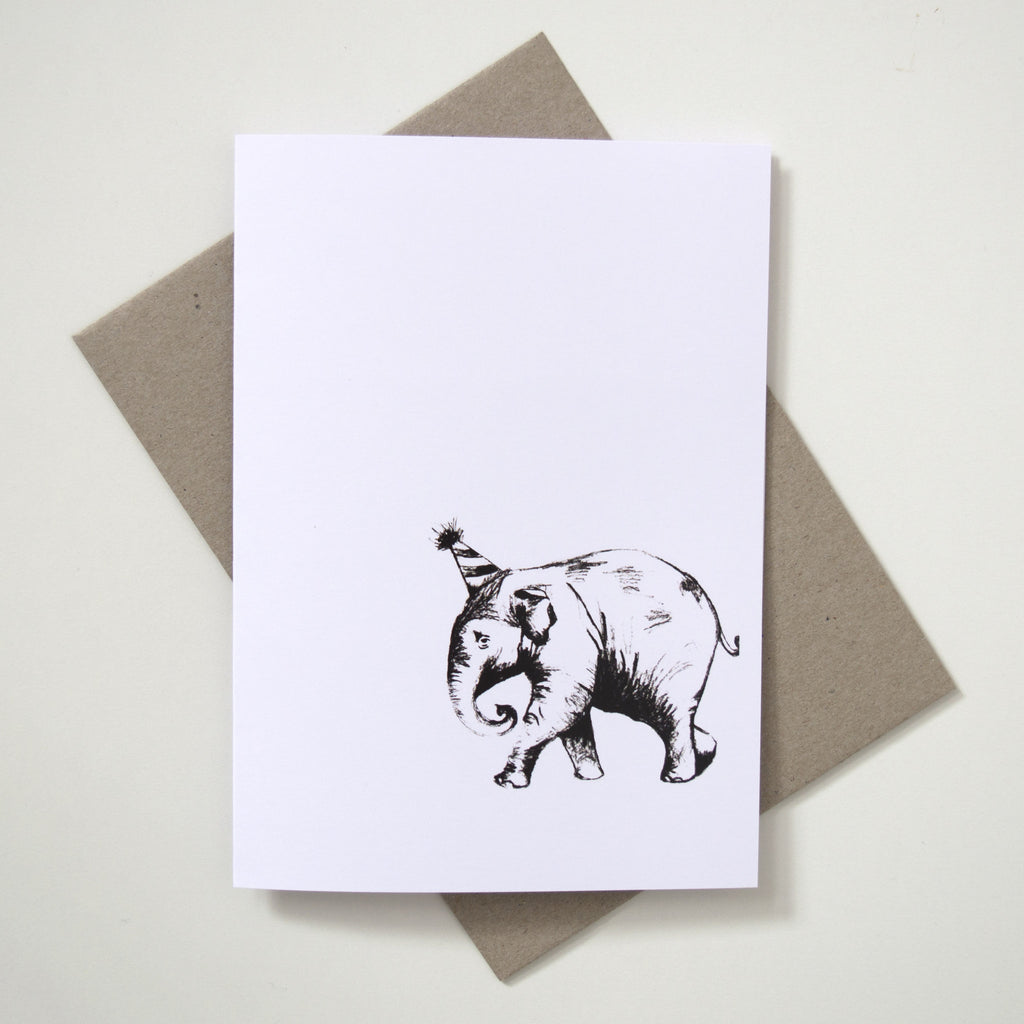 Greeting Card Animal Sketch Plain Elephant Beeing Creative
