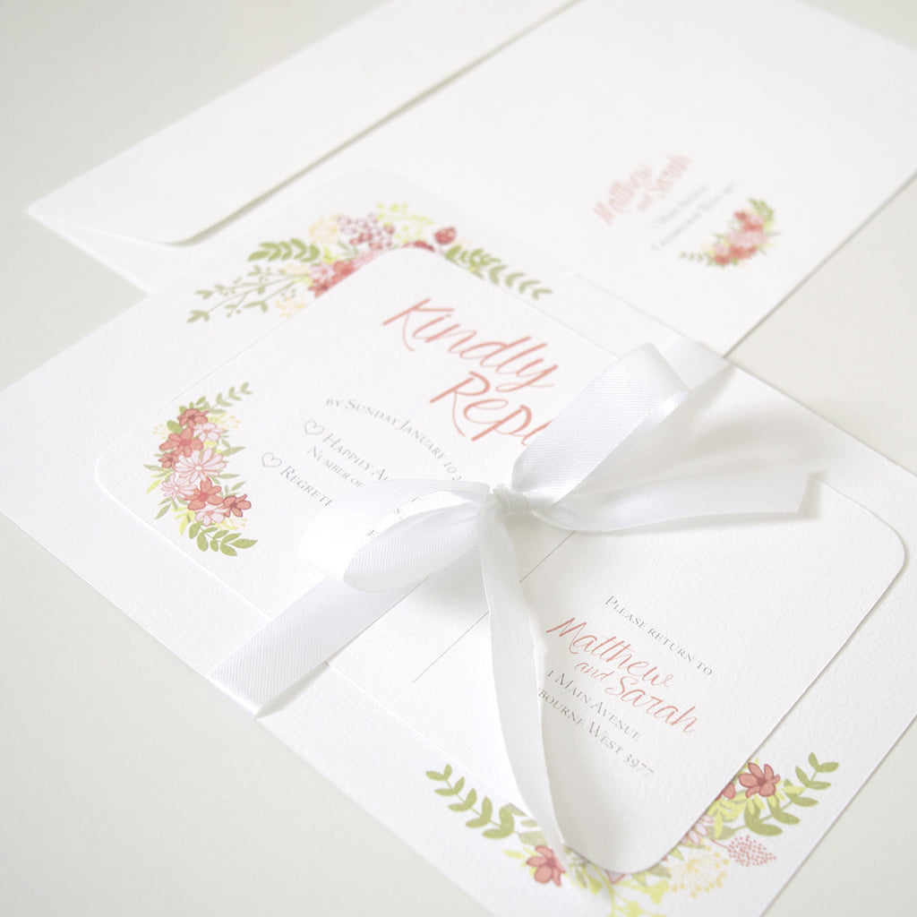 wedding invitation flower garden beeing creative