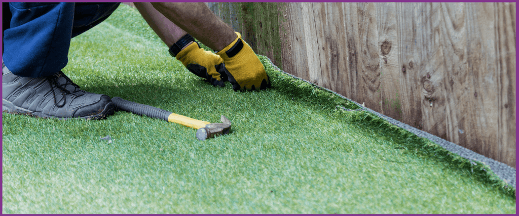 Laying artificial grass with shockpad underlay