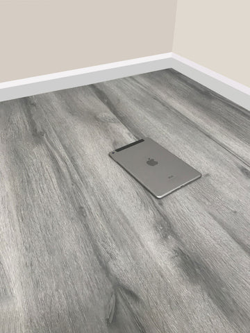8mm Laminate Flooring - Grey Oak Effect - V Groove - AC4 Rated - Click System