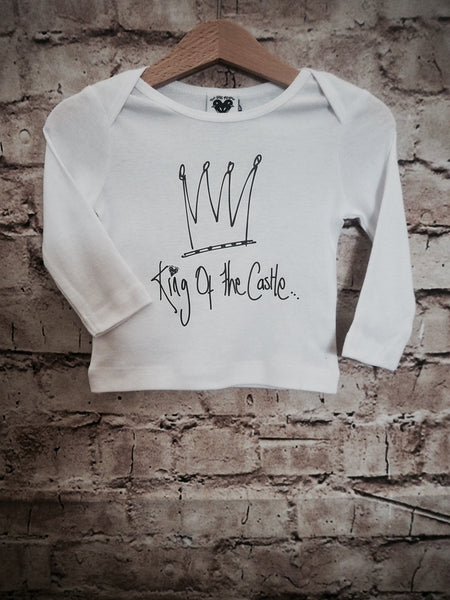'King of the castle' long sleeve t-shirt in white