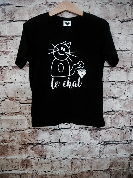 'Max the Cat' organic t-shirt in black