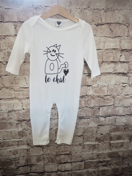 'Max the Cat' organic cotton baby romper in white