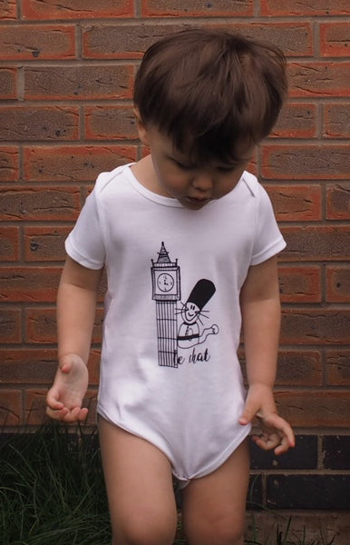 'Max the Cat in London' organic baby grow
