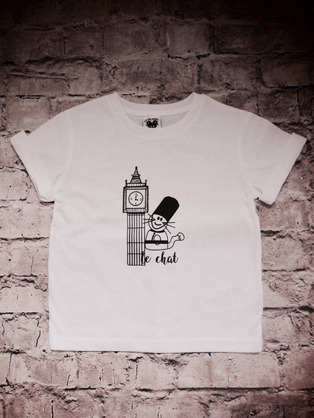 'Max the Cat in London' organic t-shirt in white