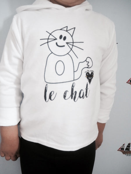 'Max the Cat' hoodie in white