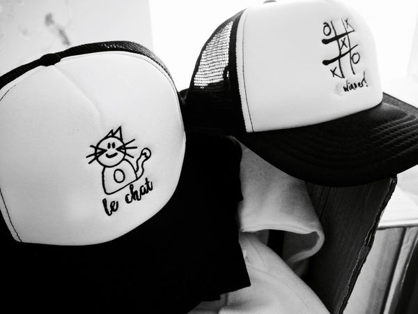 'Max the Cat' embroidered monochrome snap back trucker cap