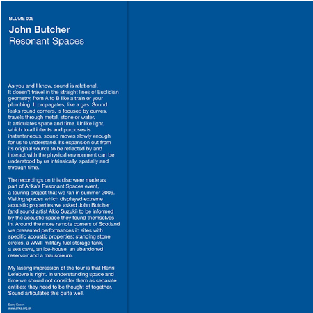 John Butcher - Resonant Spaces LP