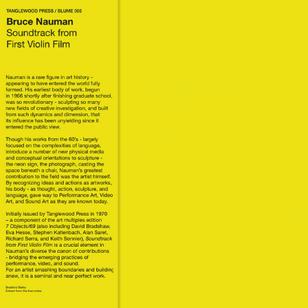 Bruce Nauman - Soundtrack From First Violin Film LP