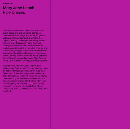Mary Jane Leach - Pipe Dreams LP