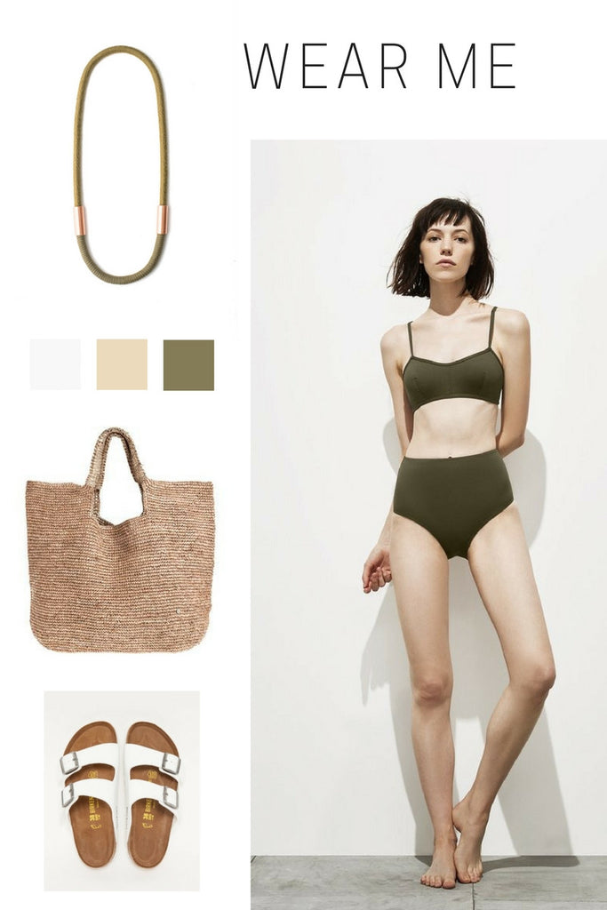 summer fashion collage khaki green natural colors