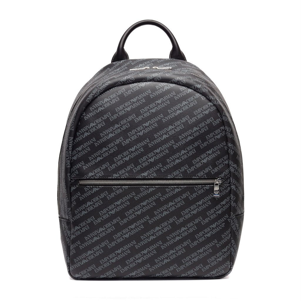 Emporio Armani Backpack in faux leather with front pocket and logo print