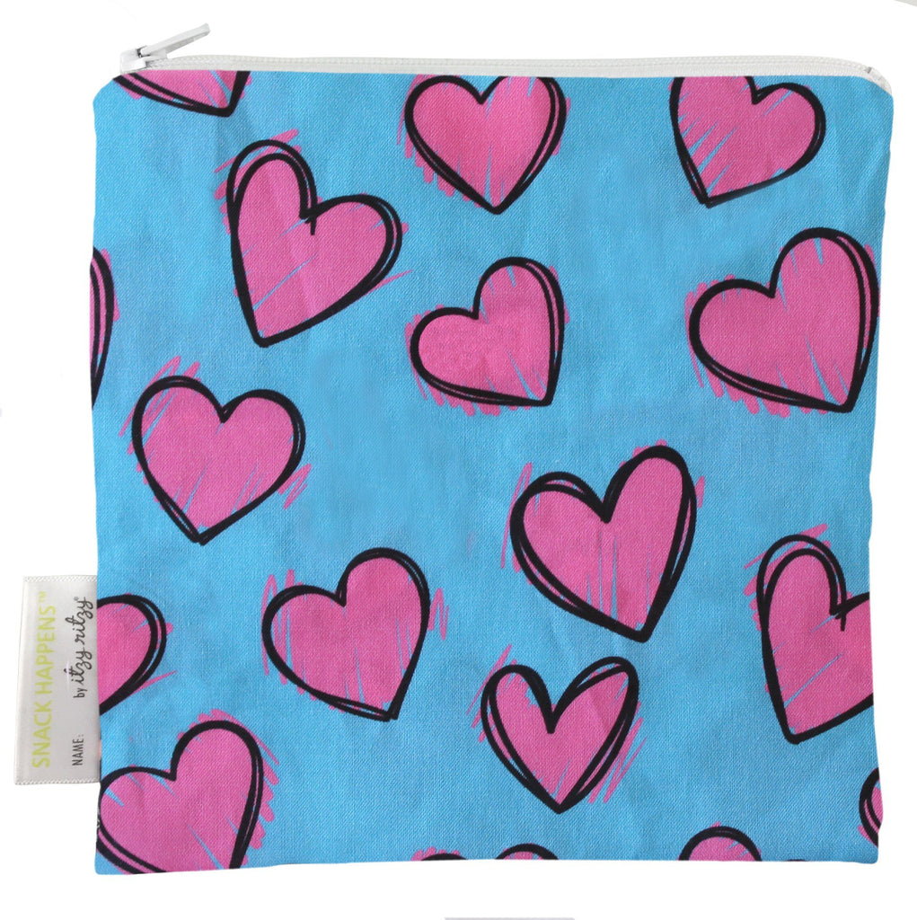 Itzy Ritzy Snack Happens Reusable Snack and Everything Bag Happy Hearts