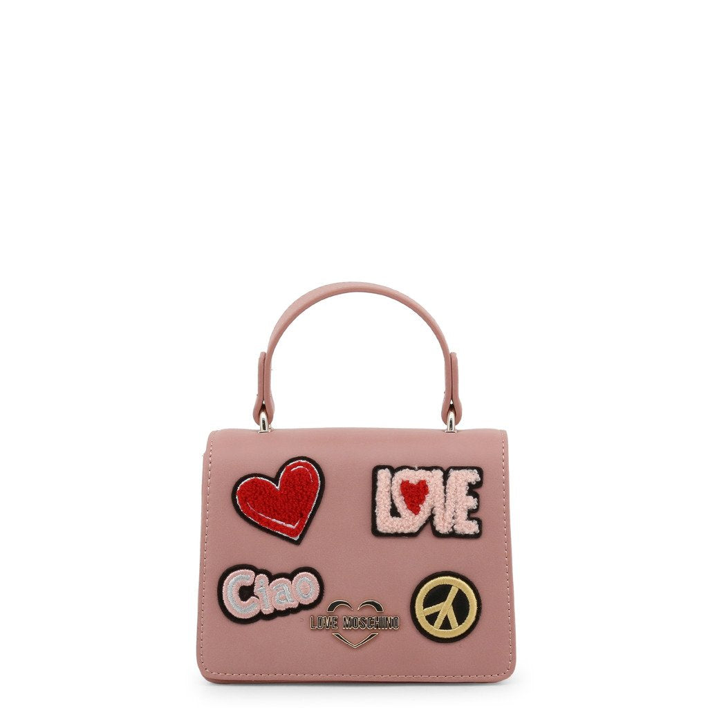 Love Moschino  Faux Leather Handbag With Patch
