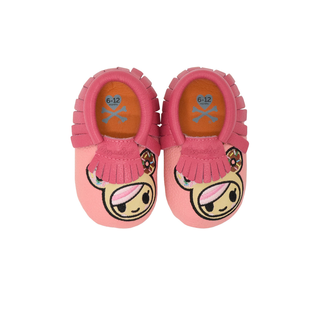 "Itzy Ritzy x Tokidoki Moc Happens leather baby moccasins Donutella 12 - 18 Month 4.75"" / 12 cm"