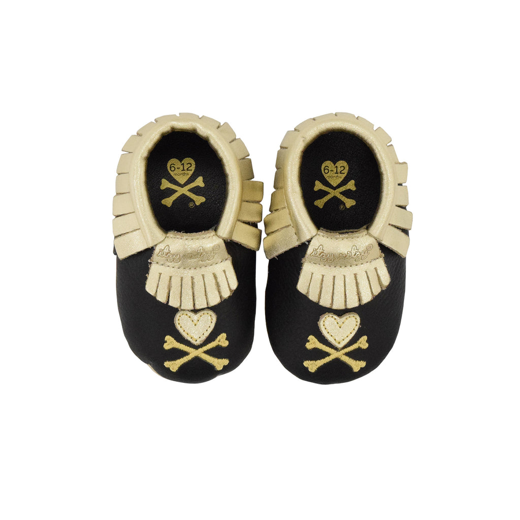 "Itzy Ritzy x Tokidoki Moc Happens leather baby moccasins Hearts & Crossbones 6 - 12 Month 4.25"" / 10.8 cm"