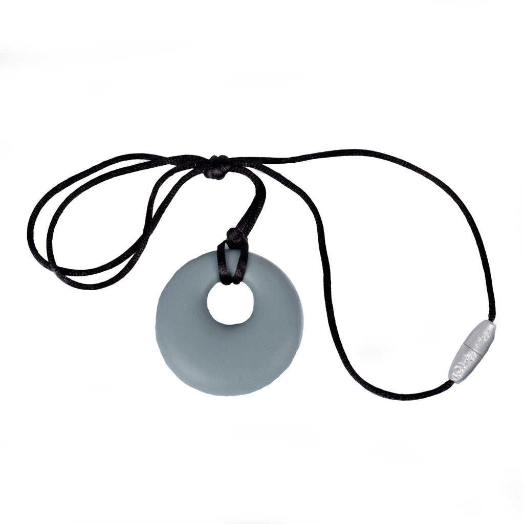 Itzy Ritzy Teething Happens Silicone Pendant Necklace Gray