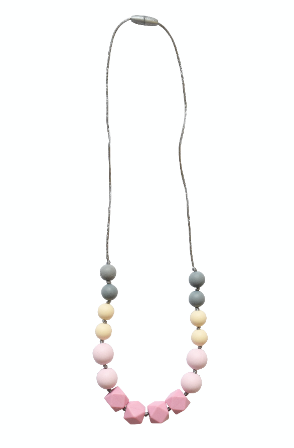 Itzy Ritzy Teething Happens Silicone Bead Necklace Primrose