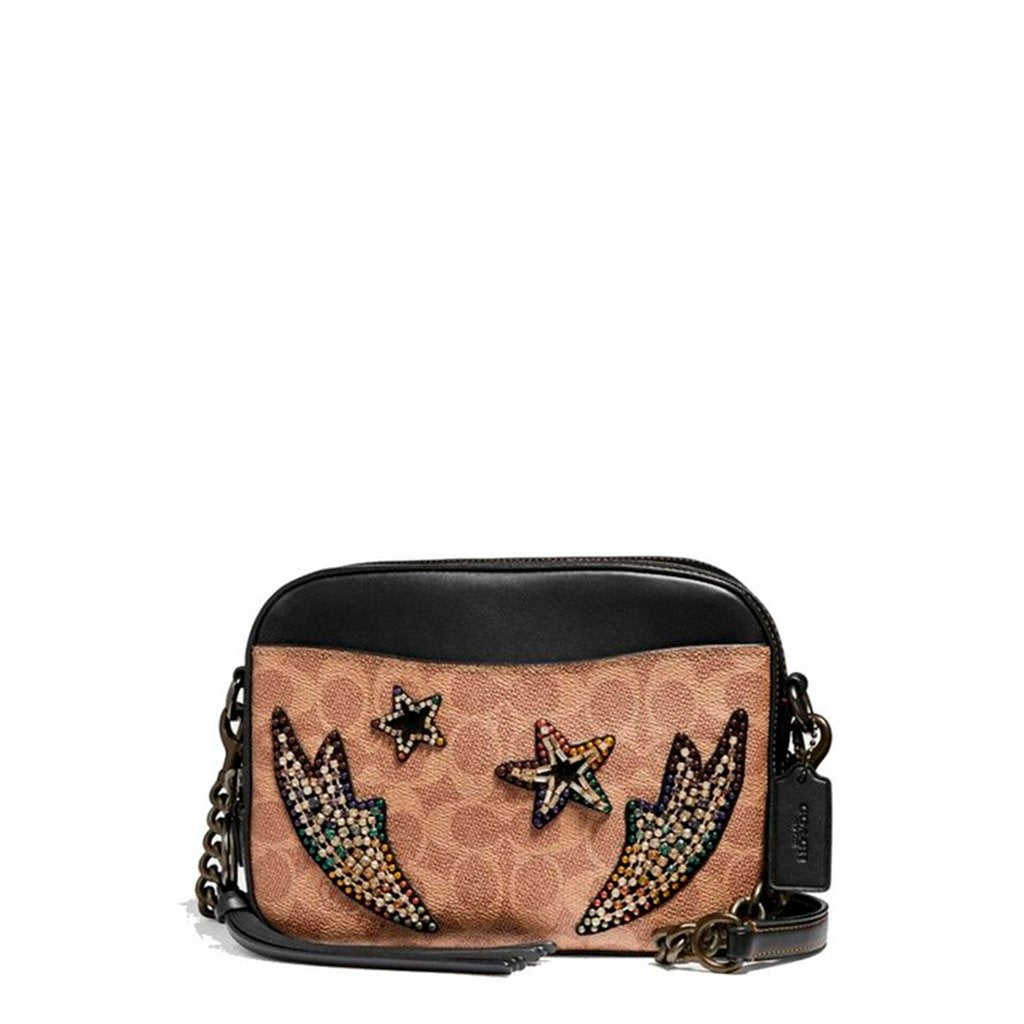 Coach Camera Bag In Signature Canvas With Rainbow Crystal Embellishments