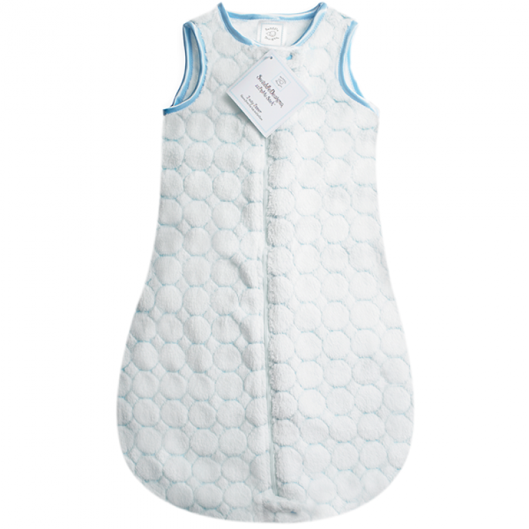 SwaddleDesigns zzZipMe Sack Pastel Blue Puff Circle