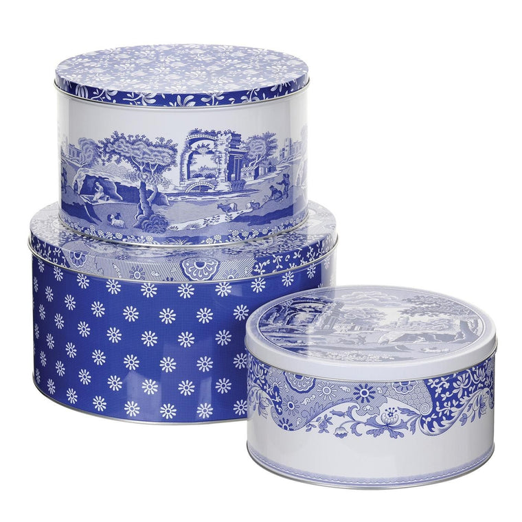 Blue Italian set 3 cutii rotunde