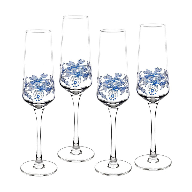 Set de 4 pahare sampania Blue Italian