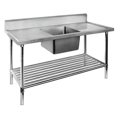 FED Single Centre Sink Bench & Pot Undershelf - SSB6-1500C/A