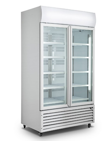 FED- Double Glass Door Colourbond Upright Drink Fridge - LG-1000GT