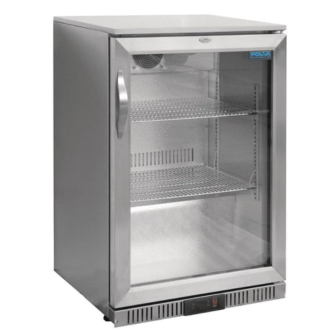 Polar G-Series Counter Back Bar Cooler with Hinged Door Stainless Steel 138Ltr - GL007-A
