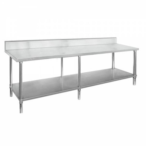 FED Stainless Steel Bench 2400 W x 700 D with 150mm Splashback - WBB7-2400/A