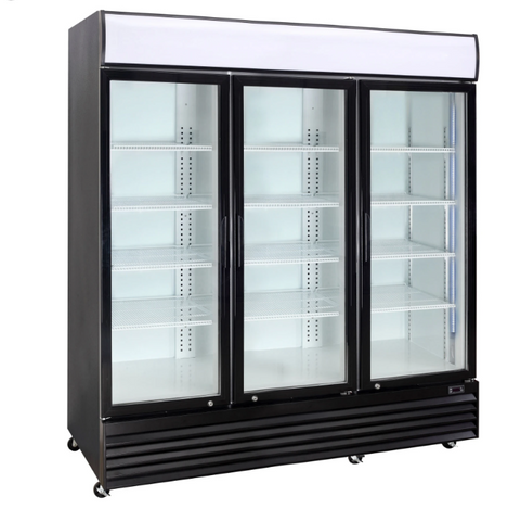 Crusader 3 Glass Door Display Fridge 1500Ltr (Black) - CCE1630BLK