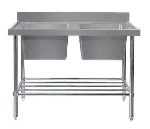 Mixrite Double Sink Bench - W2100 X D600 X H900 - SS2621R
