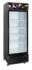 Crusader Single Glass Door Flower Display Fridge 430Ltr - CCE605BLK