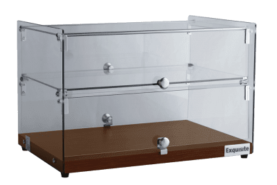 Exquisite Square Glass Ambient Counter Top Display Cabinet Double tier – Elegant Walnut Colour - CD50-W