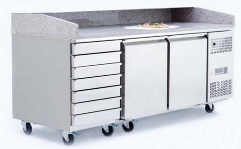 Atosa ­2 Door Refrigerated Pizza Table With Drawers 2010mm - EPF3480