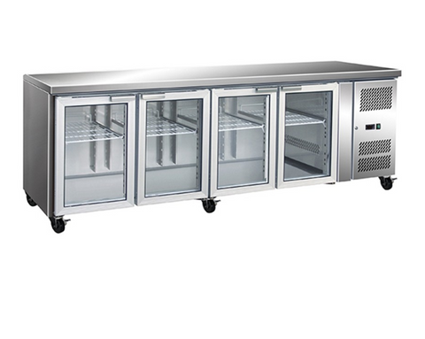 FED Four Glass Door Gastronorm Bench Fridge - GN4100TNG