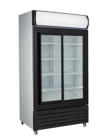 FED Black Sliding Two Glass Door Colourbond Upright Drink Fridge LG-1000SDBG