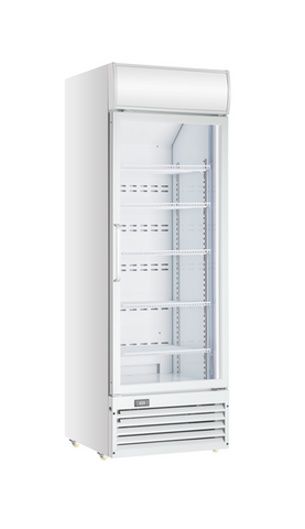 Crusader Single Glass Door Display Fridge 430Ltr (White) - CCE605
