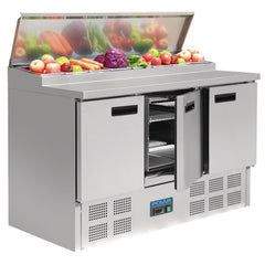 Polar 3 Door Salad and Pizza Prep Counter Stainless Steel G605-A - OzCoolers