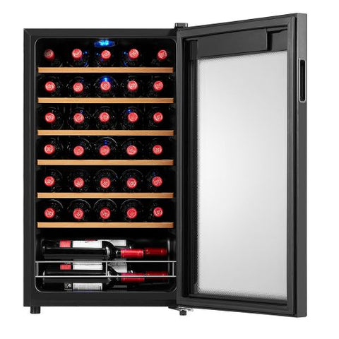 Husky 93L Single Zone Wine Fridge in Black - HUS-WC34S-BK-ZY