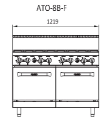 Cookrite 8 Burner With Oven - ATO-8B