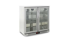 Austune 2 Glass Door Back Bar Fridge Stainless Steel - BB-2(900)