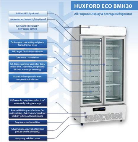Huxford 2 Door Eco-Friendly Commercial Fridge - BMH30 - OzCoolers