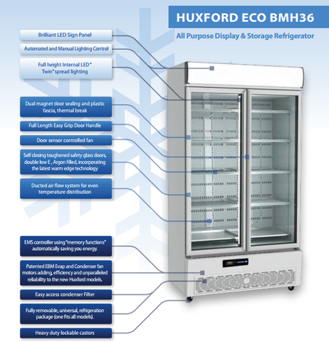 Huxford 2 Door Eco-Friendly Commercial Fridge - BMH36 - OzCoolers