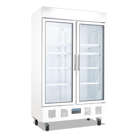 Polar Two Door Upright Display Cabinet 944Ltr White CD984-A - OzCoolers