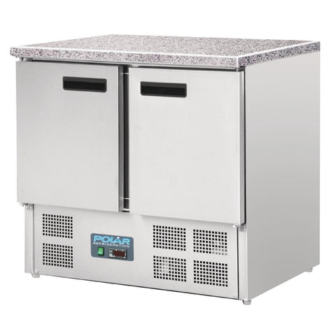 Polar Double Door Refrigerated Counter with Marble Work Top 240Ltr - CL108-A