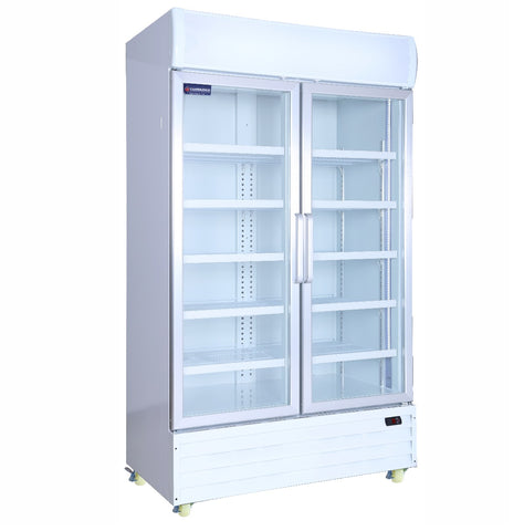 Crusader 2 Glass Door Display Fridge 890Ltr (White) - CCE1130