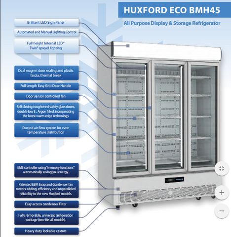 Huxford 3 Door Eco-Friendly Commercial Fridge - BMH45 - OzCoolers